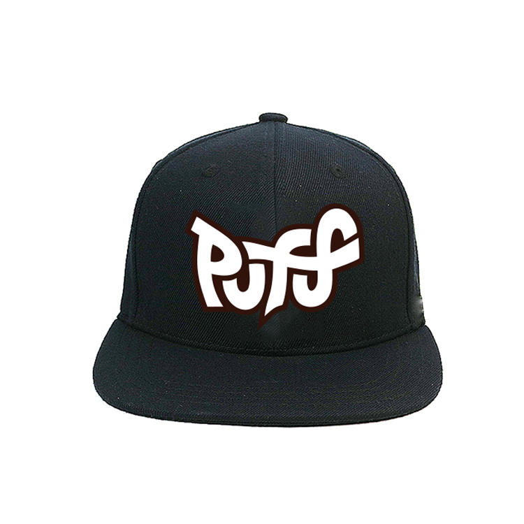 Classic black custom design logo silk printed plastic buckle snapback caps