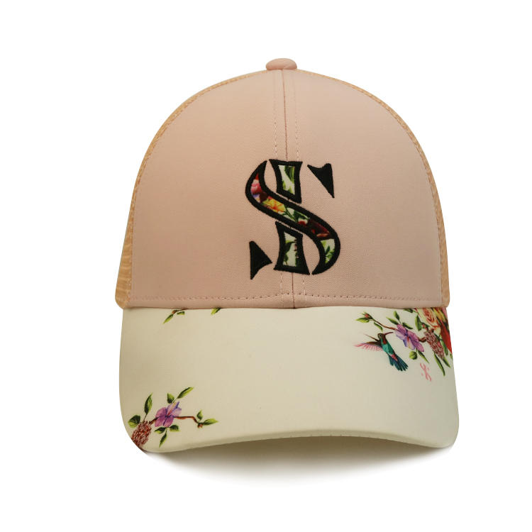 Custom Pink Women Female Curve Leather Floral Pattern Brim Baseball Trucker Mesh Cap Hat