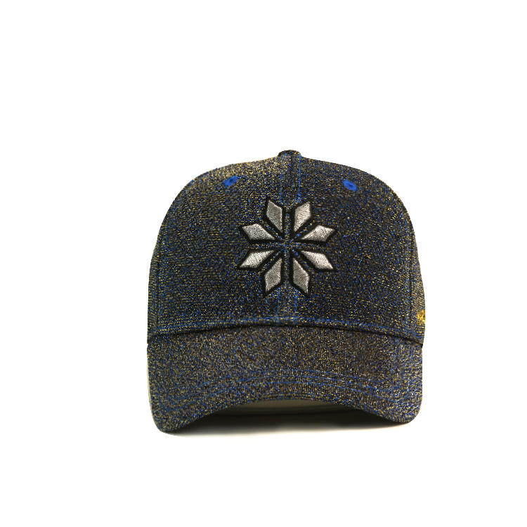 Special material bling silk customized meyal thread embroidery baseball caps