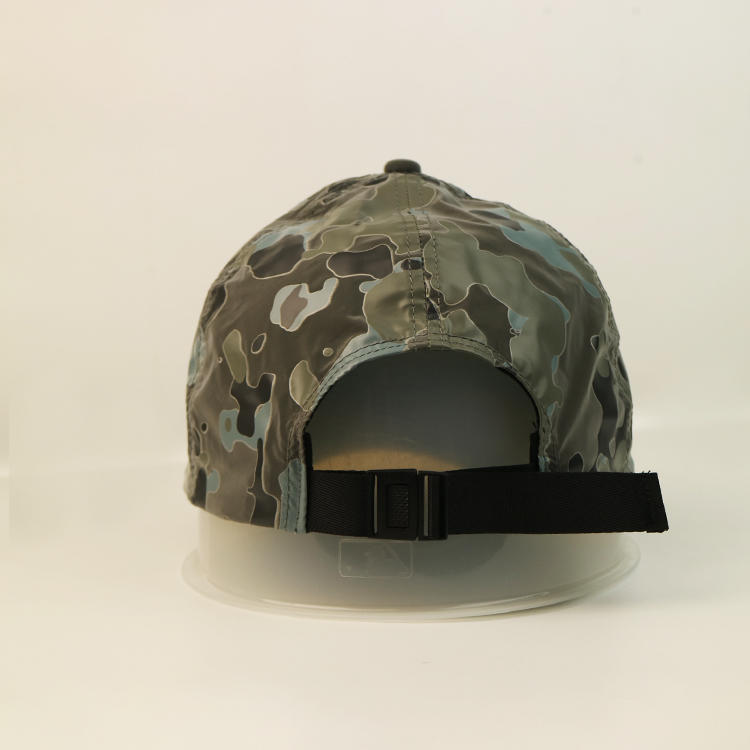 Reflective Fabric 6 Panel Unstructured Printed Baseball Army Military Hats And Caps