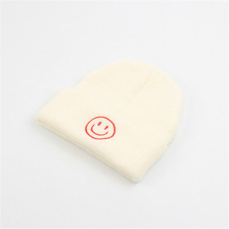 solid color smile custom logo available soft winter knitted beanies