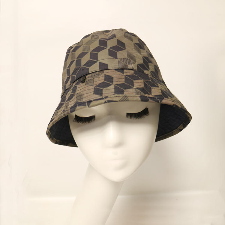 Wholesale High Quality Custom Cotton Double Sided Newspaper Print Fishman Bucket Hats Caps