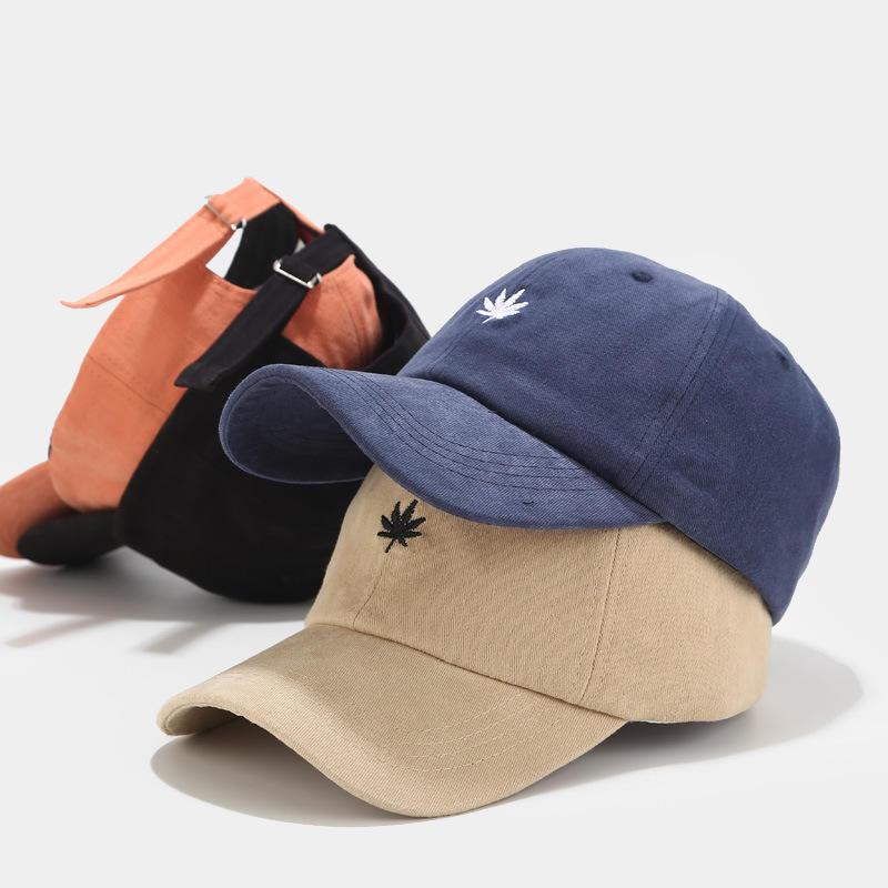 Unisex Men Women New Leaves Embroidery Korean Japanese Art Small Fresh Peaked Baseball Cap Hat
