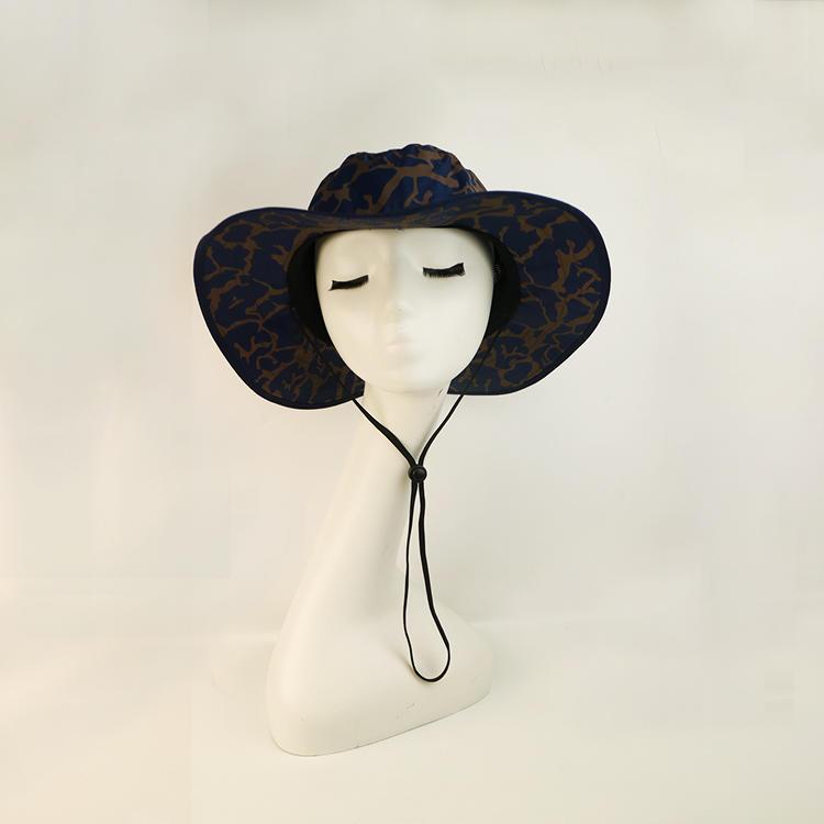 Custom Unisex Wide Brim Sun Logo Boonie Summer Protection Black Fisherman Bucket Hat