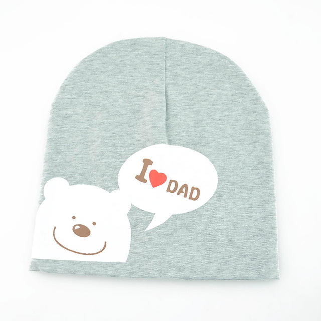 Spring Autumn I Love Dad and Mom Print Baby Hat Knitted Warm Beanie For Toddler Baby
