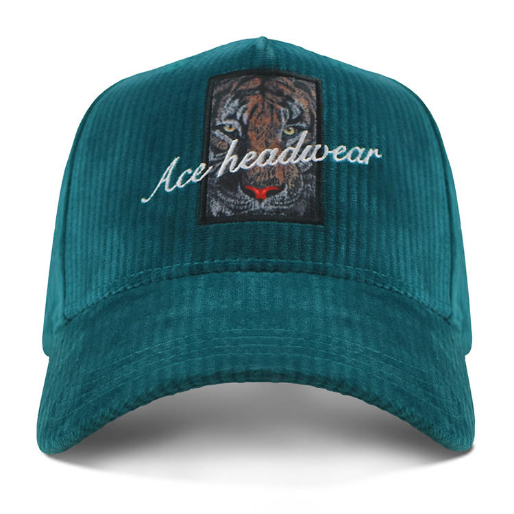 ACE 5 Panel Corduroy Baseball Cap Metal Buckle With Self Strap Embrodery Logo With Sublimation Patch