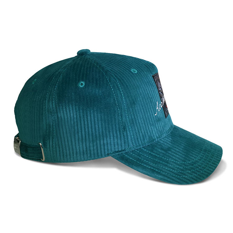 ACE 5 Panel Corduroy Baseball Cap Metal Buckle With Self Strap Embrodery Logo Wiht Sublimation Patch