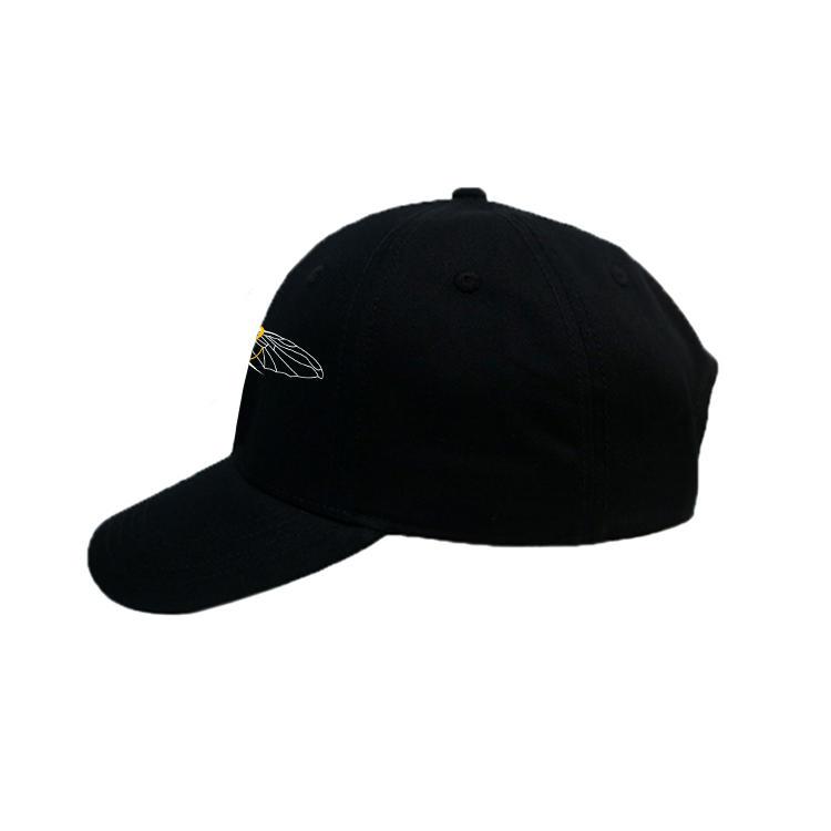 Fashionable all black printing  logo metal buckle 6 panel baseball cap hats