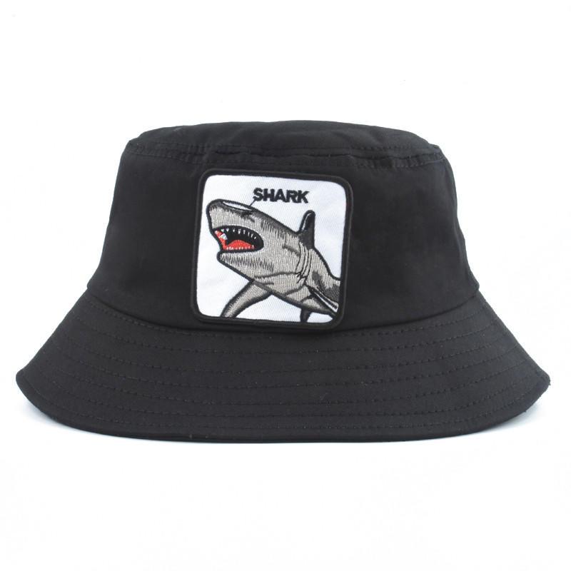 New Fashion Panama Bucket Hats Men Women Summer Fishing Hat Shark Embroidery Animal Hip Hop cap