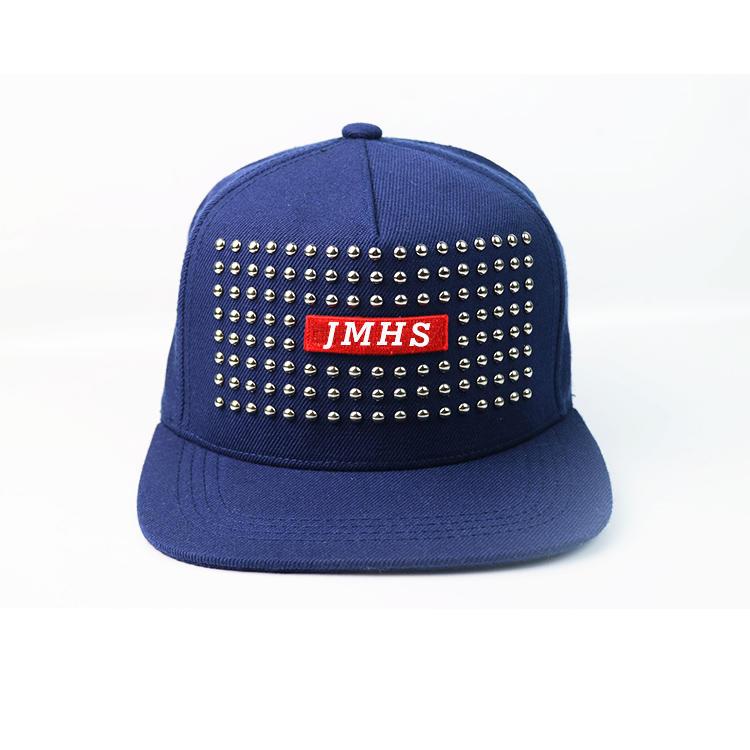 Fashion style custom design logo metal decorative rivet hip hop snapabck caps hats
