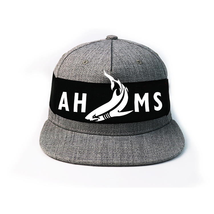 Special design 6panel grey custom black decorative ribbon snapback caps hats