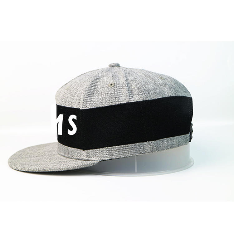 Special design 6panel grey custom black decorative ribbon snapback caps hats
