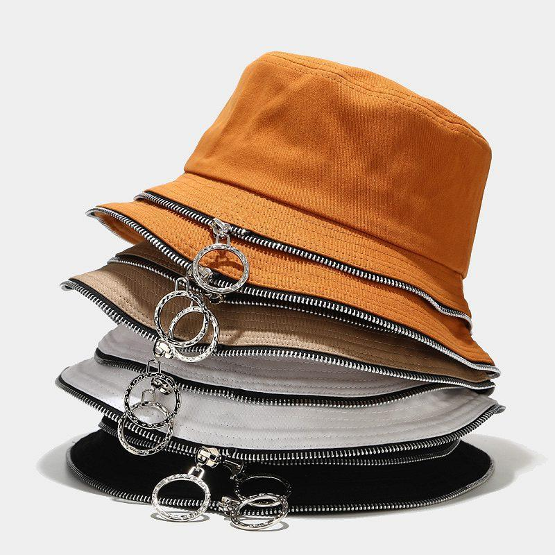 Summer Foldable Zip Bucket Hat Woman Solid Color Hip Hop Wide Brim Beach Uv Protection Cap
