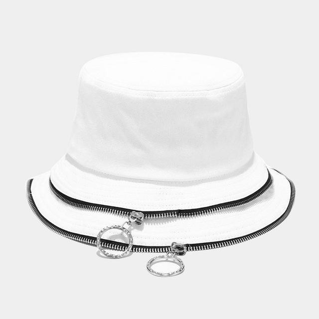 Summer Foldable Zip Bucket Hat Woman Solid Color Hip Hop Wide Brim Beach Uv Protection Cap