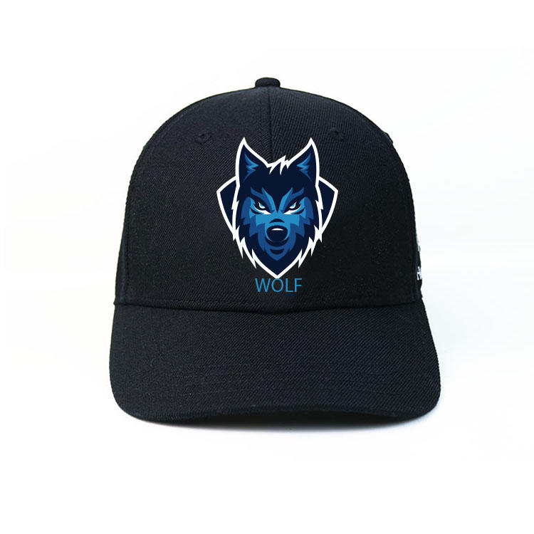 Hot sale custom design silk printing wolf ACE logo baseball caps hats