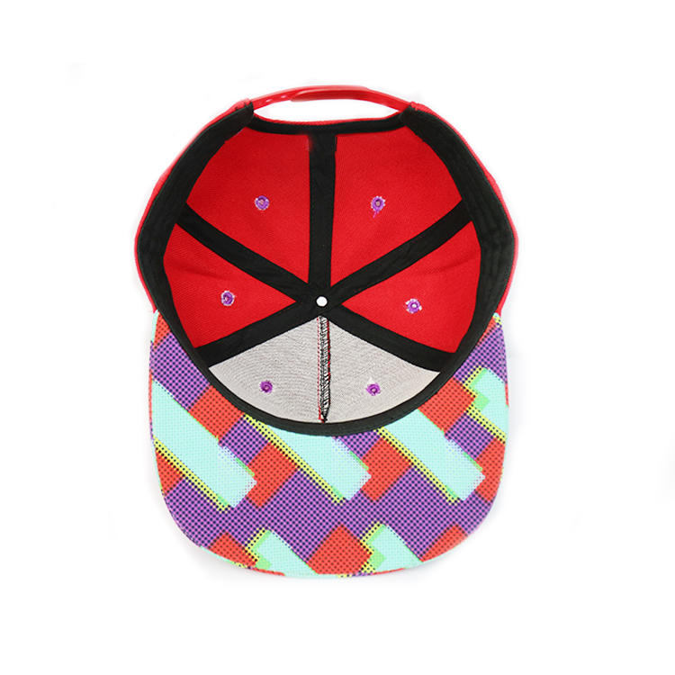 Custom special flat sublimation printing 6panel blank red snapback caps hats