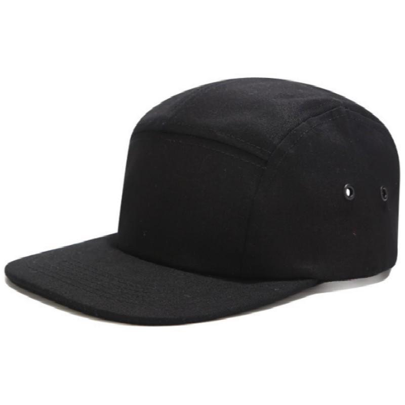 Casual 5 Panel Black Solid Color Flat Brim Adjustable Blank 5 Panel Camp Hat Hip Hop Camper Cap