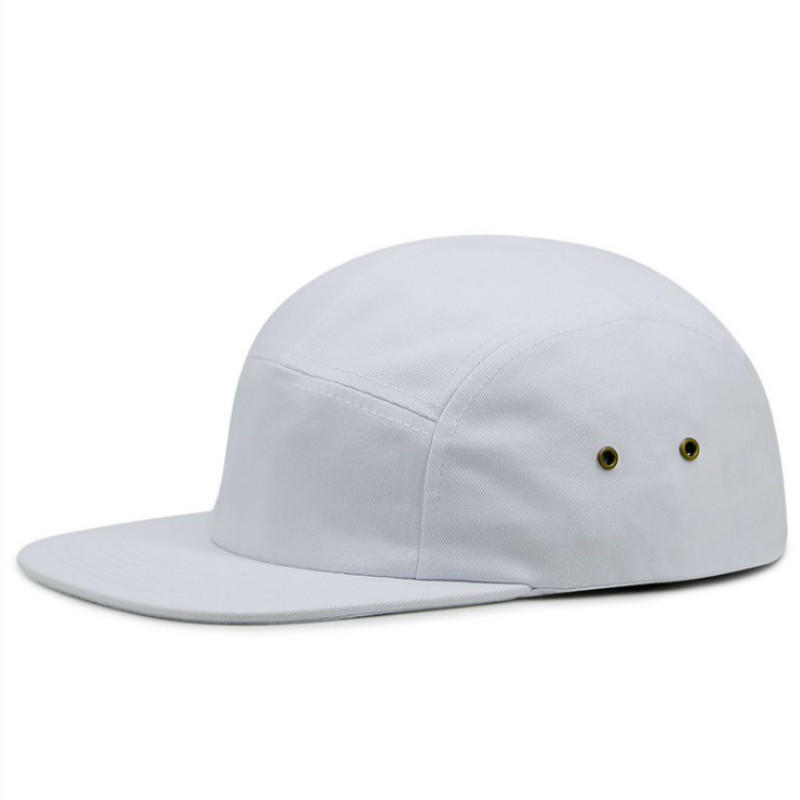 Casual 5 Panel Black Solid Color Flat Brim Adjustable Blank 5 Panel Camp Hat Hip Hop Camper Cap