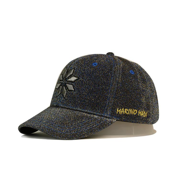custom material velvet bling metal threads embroidery logo baseball caps and hats