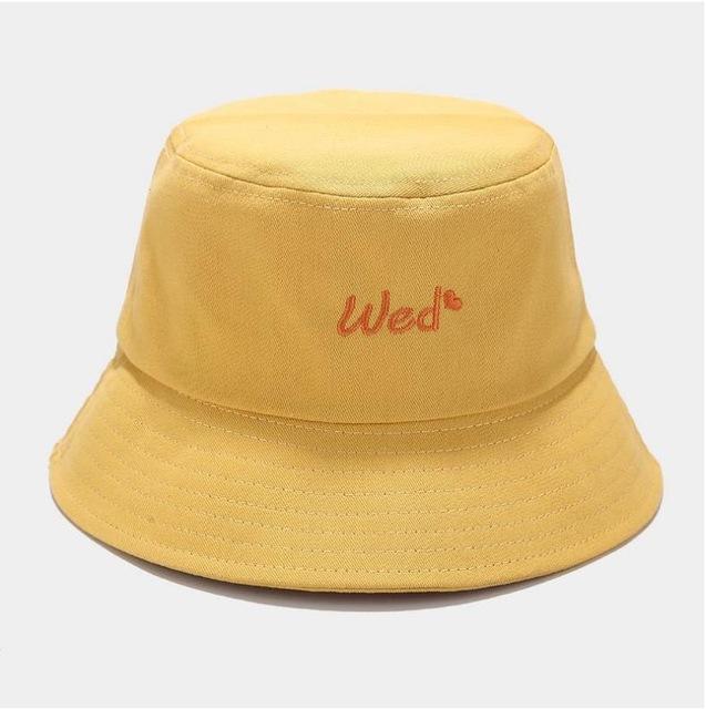 A Week Embroidery Bucket Hat Women Men Cotton Cap Girls Both Sides Love Heart Bob Cap