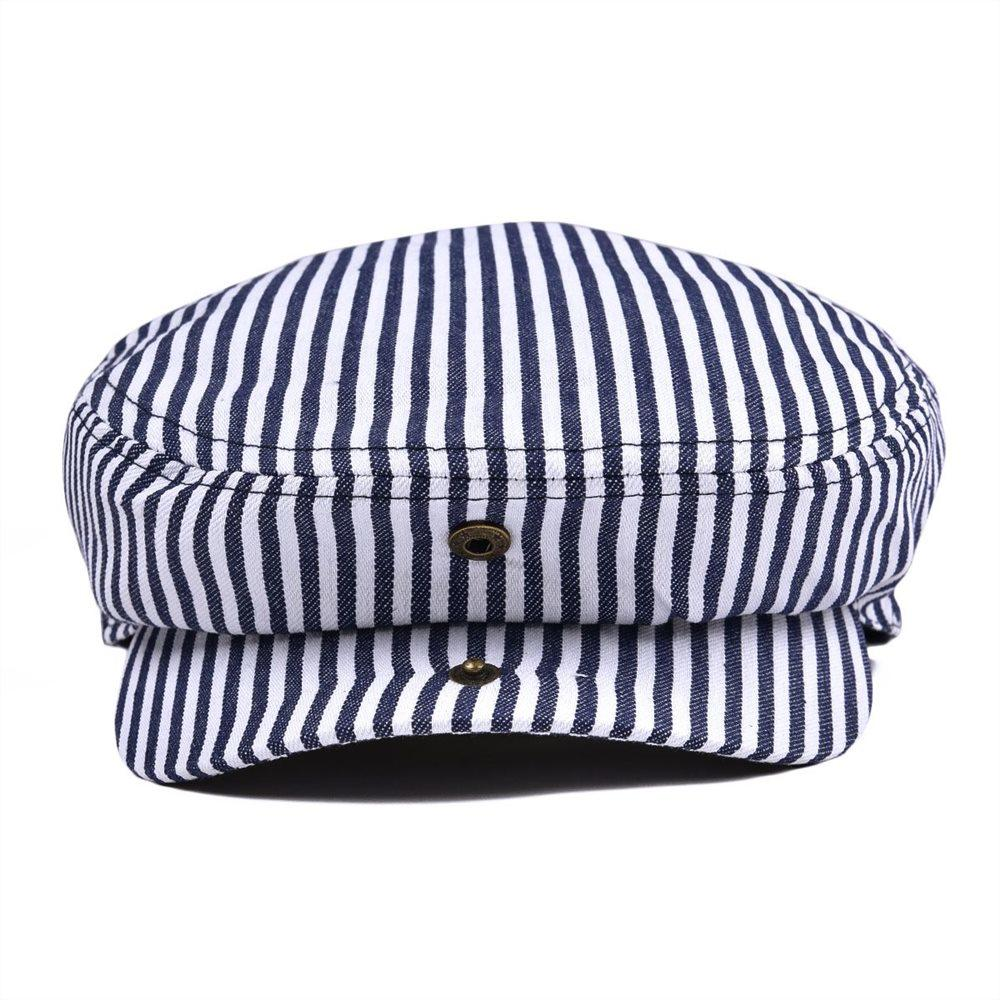 Summer Flat Cap Navy Blue Stripe Ivy Caps Men Women Cotton Gatsby Hat Newsboy Beret