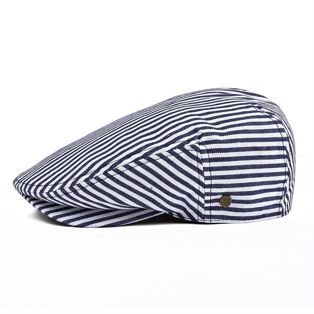 Summer Flat Cap Navy Blue Stripe Ivy Caps Men Women Cotton Gatsby Hat Newsboy Beret
