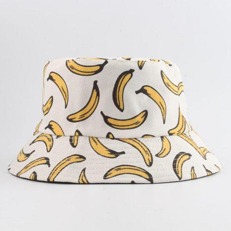 Panama Bucket Hat Men Women Summer Banana Print Bob Hat Hip Hop Gorros Fishing Cap