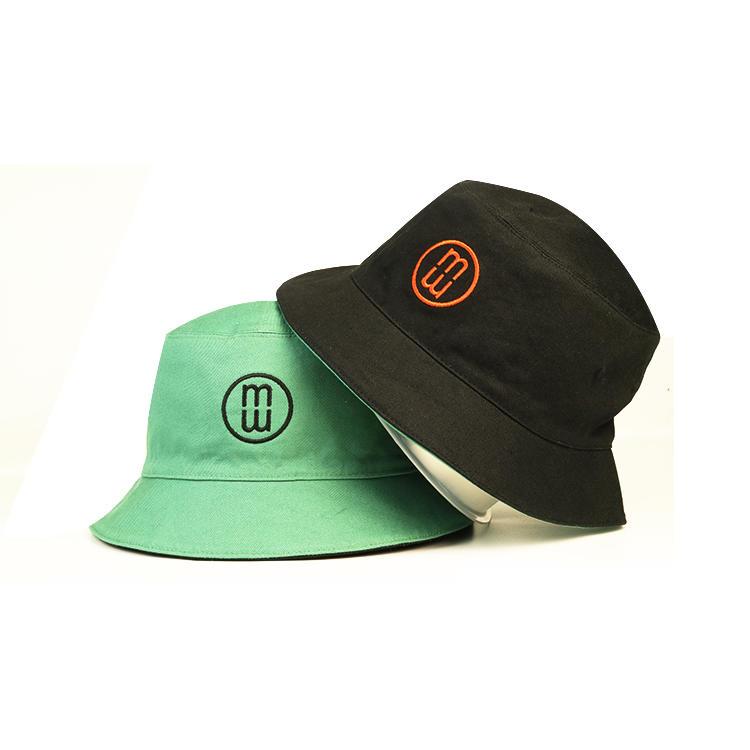 Custom Black Folding Double-sided Embroidery Cotton Women Bucket Hats