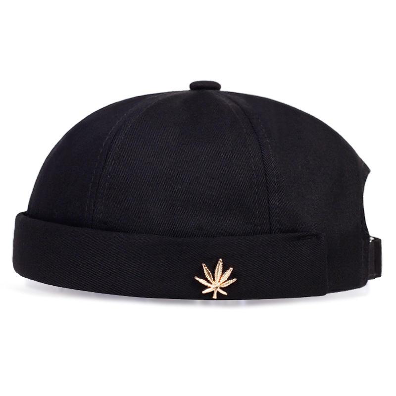Men Women Skullcap Sailor Cap Leaf Rivet Embroidery Warm Rolled Cuff Bucket Cap Brimless Hat