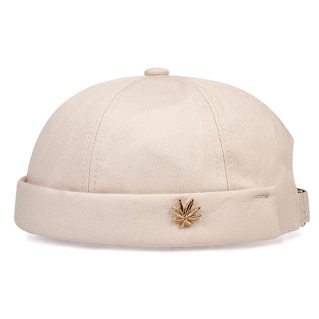 Men Women Skullcap Sailor Cap Leaf Rivet Embroidery Warm Rolled Cuff Bucket Cap Brimless Hat