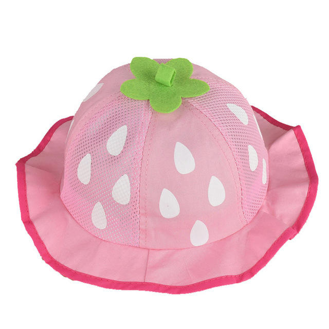 Girls Hat Fashionable Cute Mesh Sun Cap Dot Infant Caps Strawberry Toddler Beanies Summer Bucket Cap