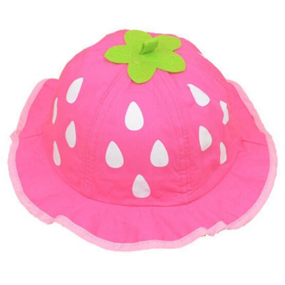Girls Hat Fashionable Cute Mesh Sun Cap Dot Infant Caps Strawberry Toddler Beanies Summer Bucket Cap