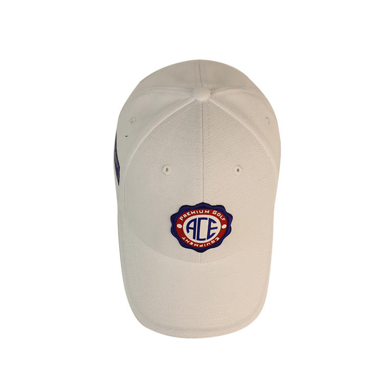 New design custom ribber patch white  cotton  baseball cap
