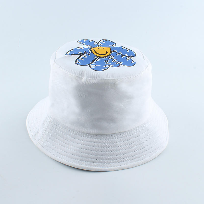 Women Female Fishing Hats Little Daisies Flower Reversible Bucket Hat Sunscreen Sun Cap