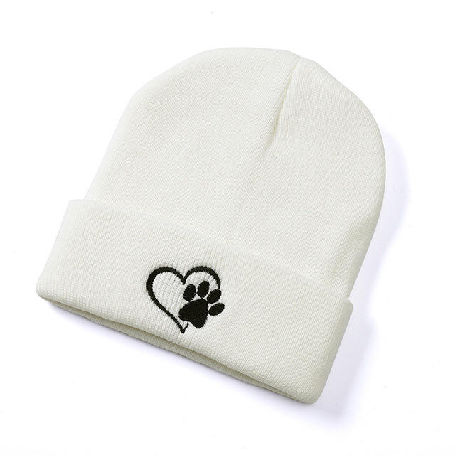 Fashion Women Cuff Casual Knitted Cap Sweet Palm Embroidery Headwear Solid Color Cap Beanie Hat