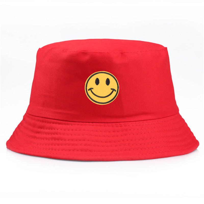 Yellow Smiley Bucket Hat Brand Summer Hat Panama Happy Face Flat Caps Sun Embroidery Cap