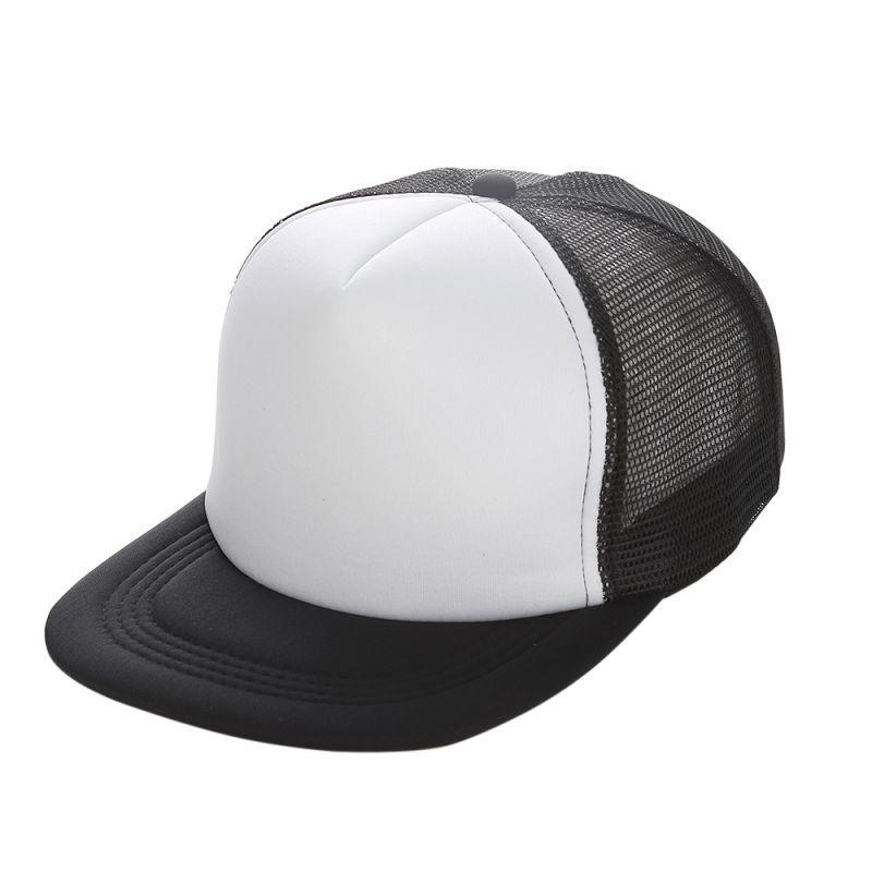 Flat Brim Blank Plain Baseball Cap Hip Hop Women Men Mesh Snapback Trucker Hat