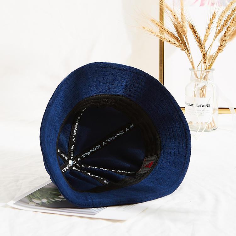 wholesale navy blue custom logo warm winter thick bucket hats