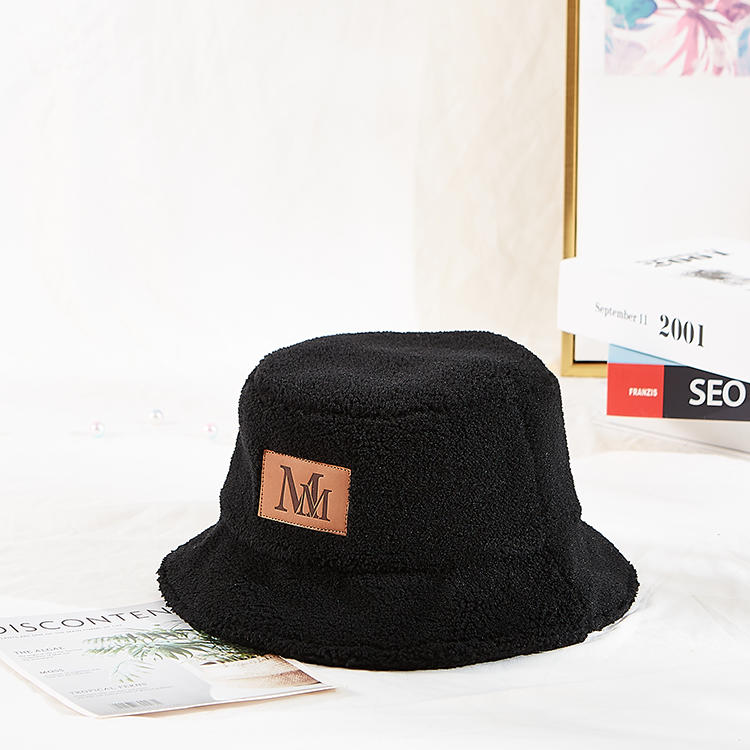 High Quality Soft Fabric Customization Leather Printing Logo Patch Winter Bucket Cap Hat