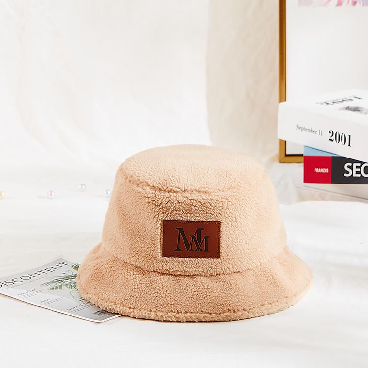 Fashion New Winter Korean Style Plain Color Warm Furry Plush Bucket Hat For Women