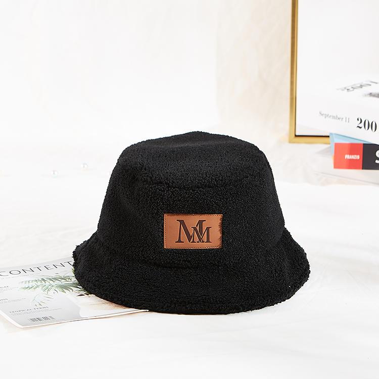 Custom size design private logo fluffy winter berber Fleece fuzzy women bucket hat