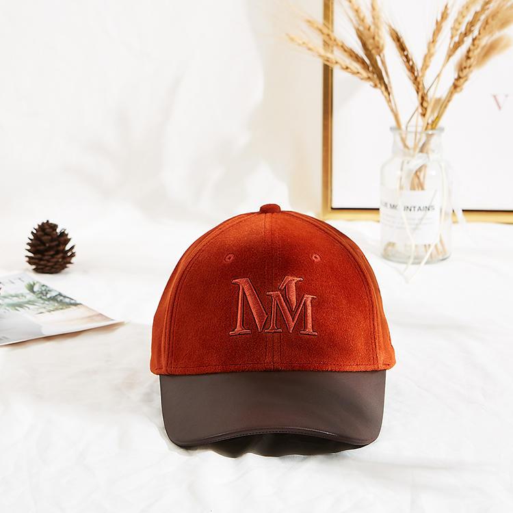 Private label velvet adjustable orange custom embroidery baseball cap dad hats