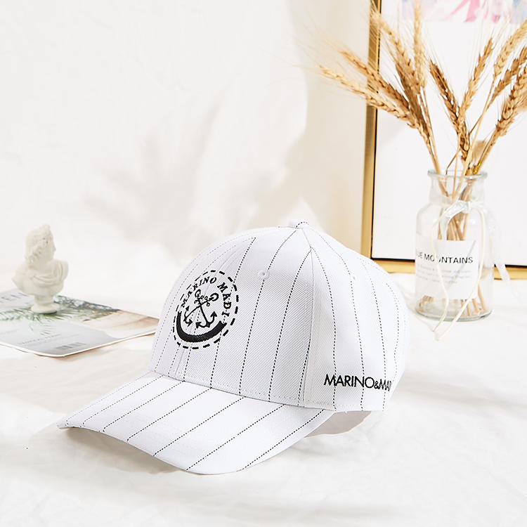 2020 wholesale stripe 6 panel custom logo baseball cap with metal buckle back closure