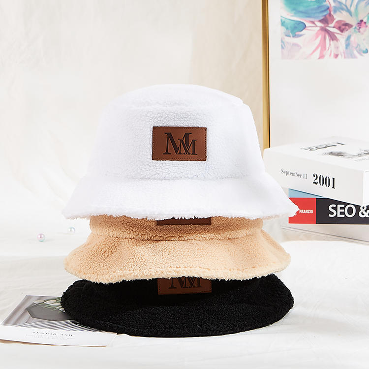 Solid Thickened Soft Warm Fishing Outdoor Vacation Winter Hat Fleece Bucket Hat