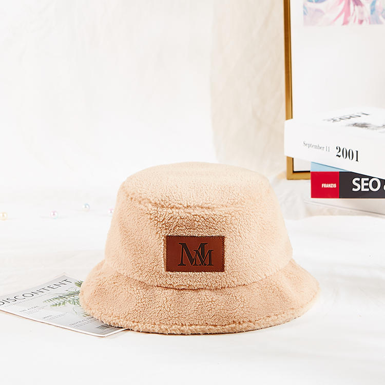 Custom adult kids size design your own logo fluffy winter berber Fleece fuzzy women bucket hat