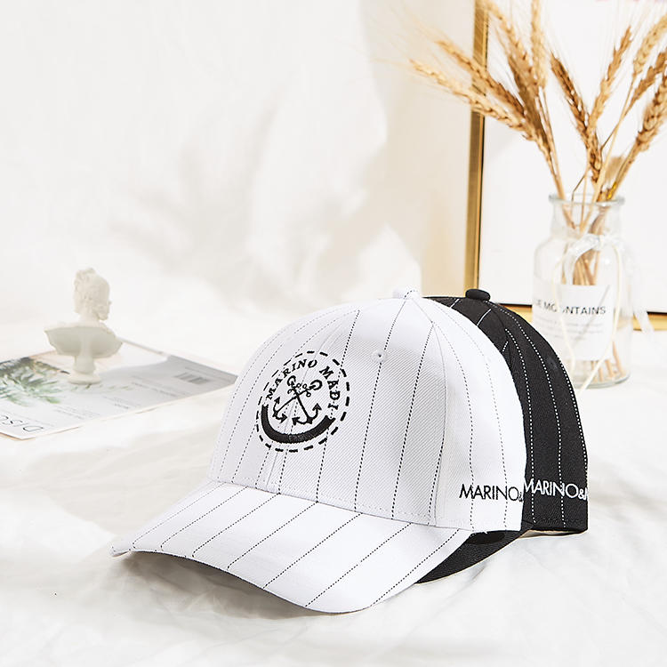 New stylish customized embroidery logo  sport wool acrylic stripe baseball cap with debossed buckle