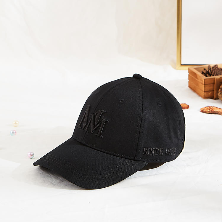 Custom black color baseball style 3d puff embroidery baseball caps hats with label
