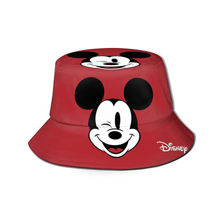 Disney Mickey Mouse sun Protection Hat Funny Summer Packable Fisherman Cotton Hat for Kids Toddler