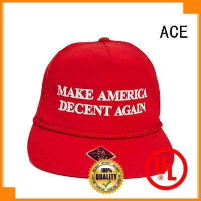 ACE acrylic blue snapback hat customization for beauty