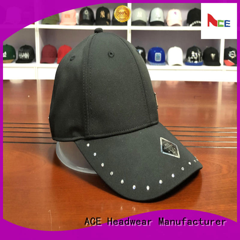 ACE leather embroidered baseball cap customization for baseball fans